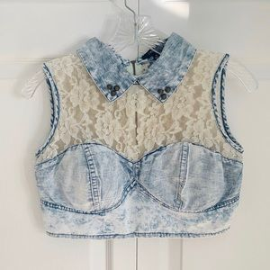 Studded Lace & Denim Collared Crop Top